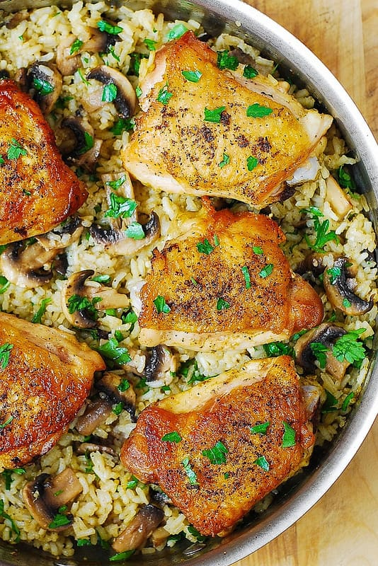 how to cook chicken, chicken and rice recipes, easy mushroom rice recipe, gluten free recipes, weeknight dinner ideas