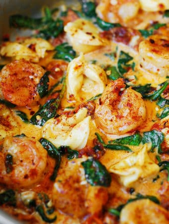 Creamy Tortellini with Shrimp and Veggies