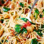 Chicken Spaghetti with Spinach and Tomatoes