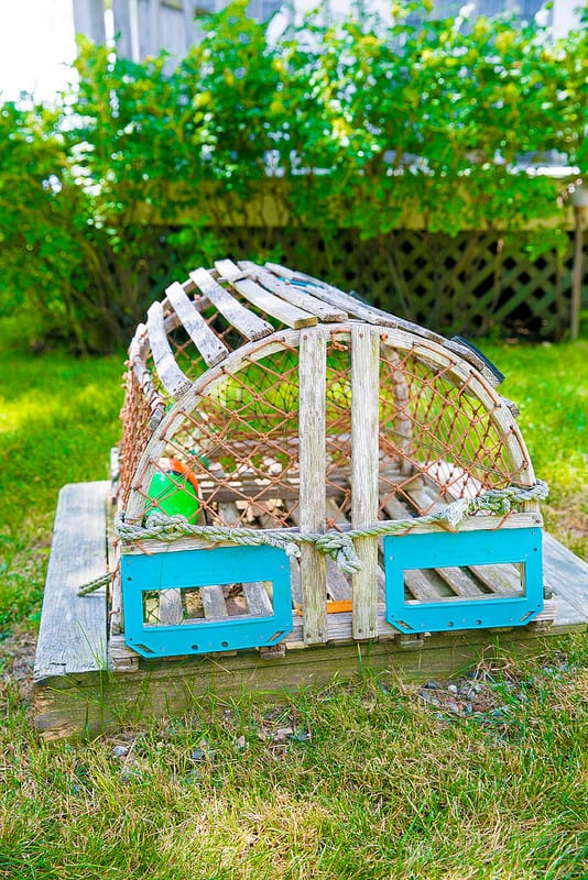 old lobster trap, wooden lobster trap in Maine