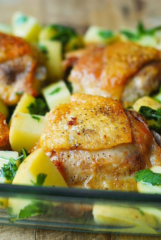 gluten free dinner, chicken recipes, easy chicken recipes, chicken thighs with potatoes