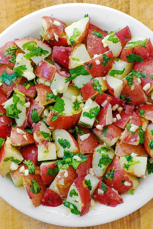 gluten free recipes, gluten free dinner, easy potato salad, red potatoes, cilantro, lime