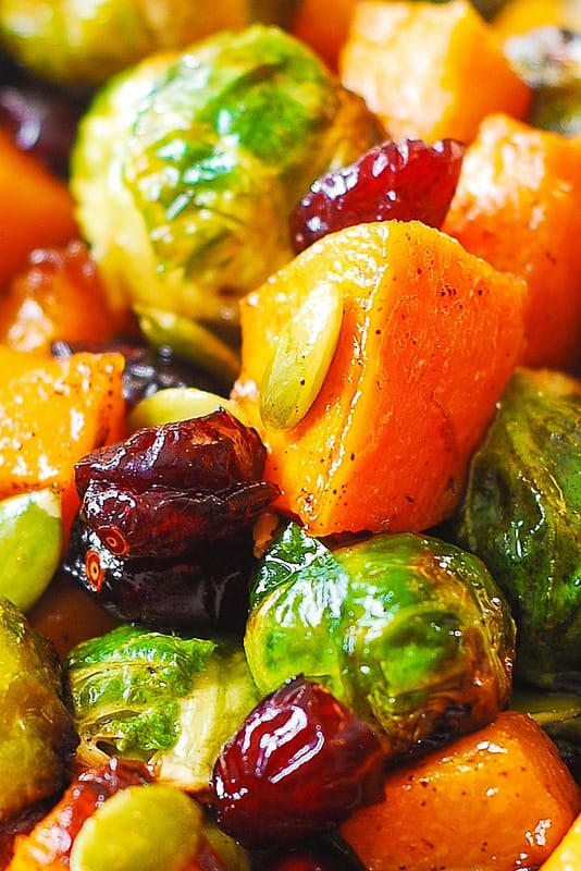 Maple Butternut Squash, Roasted Brussels Sprouts, Pumpkin Seeds, and Cranberries