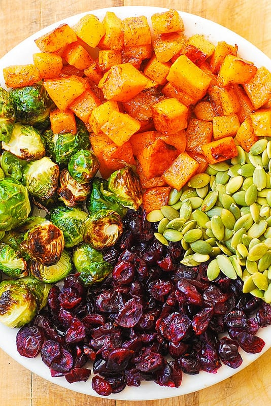 Thanksgiving Salad with Roasted Brussels Sprouts, Maple Butternut Squash, Pumpkin Seeds, and Cranberries