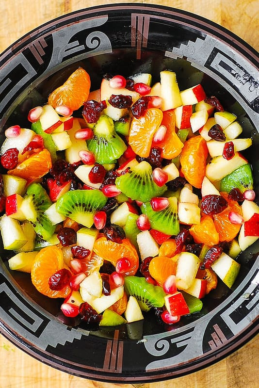Fall, Autumn Winter Salad, recipes, healthy recipes, holiday salad recipe, Mandarin or clementine oranges, kiwi fruit, apples, pears, pomegranate seeds, cranberries, maple lime dressing