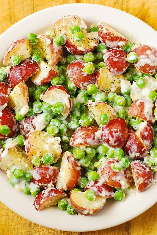 Creamy Parmesan Garlic Potatoes and Peas