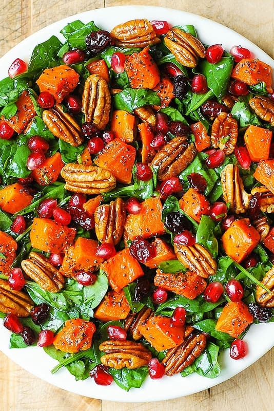 Butternut Squash and Spinach Salad with Pecans, Cranberries, Pomegranate