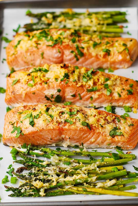 baked salmon, best salmon recipes, how to bake salmon, salmon and asparagus, gluten free dinner