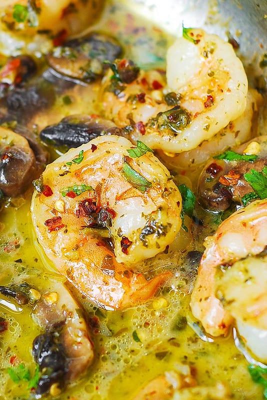 pesto shrimp with mushrooms - close-up photo