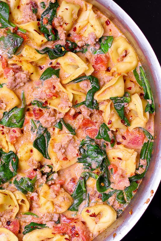 sausage and veggies pasta, pasta with vegetables and sausage, easy pasta dinner, pasta dinners easy, how to make sausage pasta, best tortellini recipes