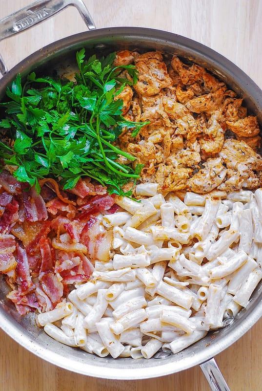 creamy chicken bacon ranch pasta in a skillet