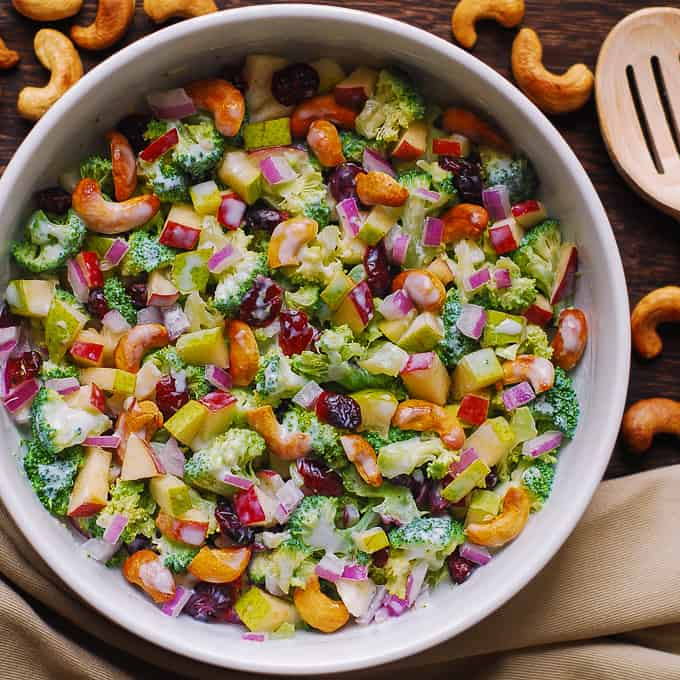 Broccoli Cashew Salad with Apples and Pears
