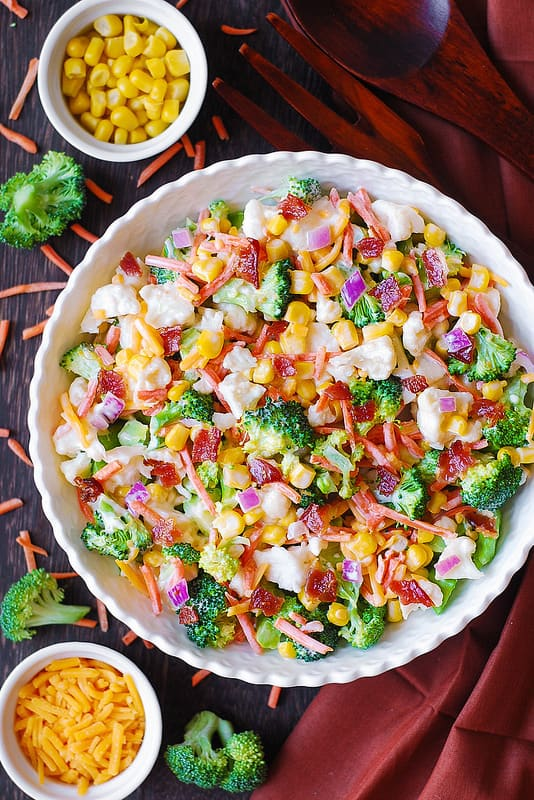 Ranch Broccoli Cauliflower Bacon Salad, salad recipes, easy salads, veggie salad, vegetable salad