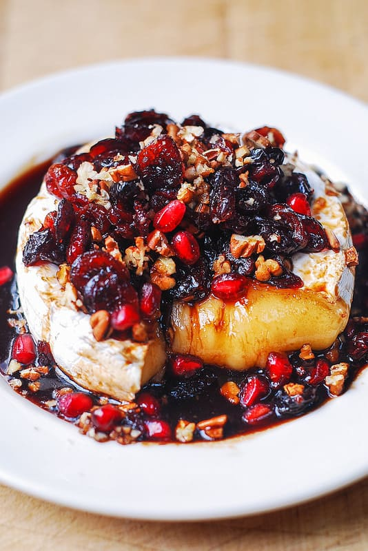 Baked Brie Recipe with Cranberries, Pecans, Pomegranate