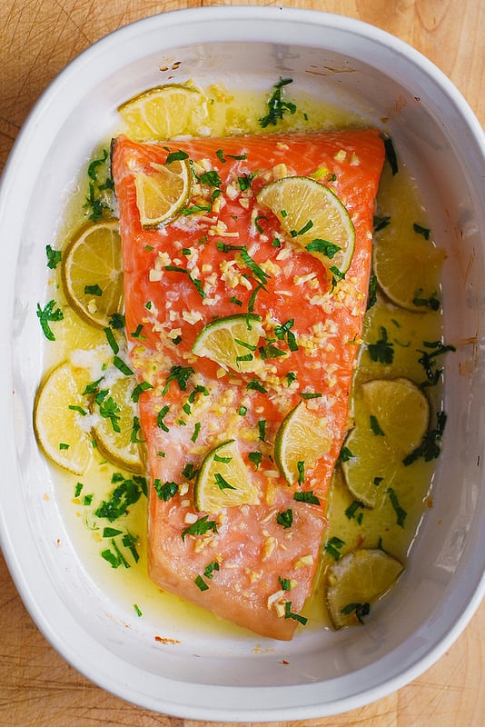 Easy Baked Salmon with Garlic Lime Butter Sauce