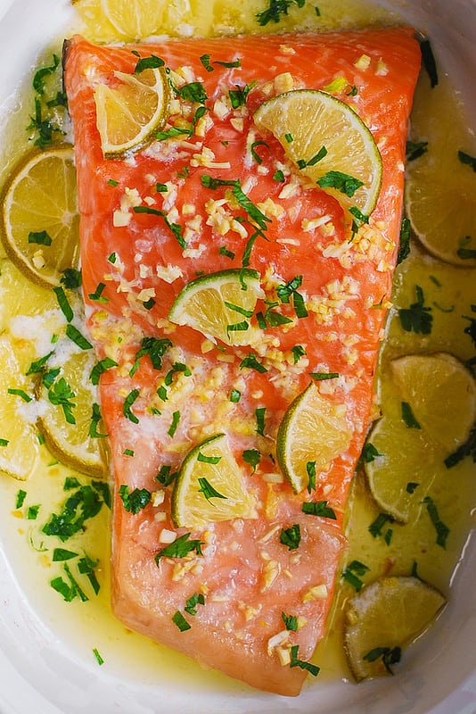 How long and at what temperature do you bake salmon