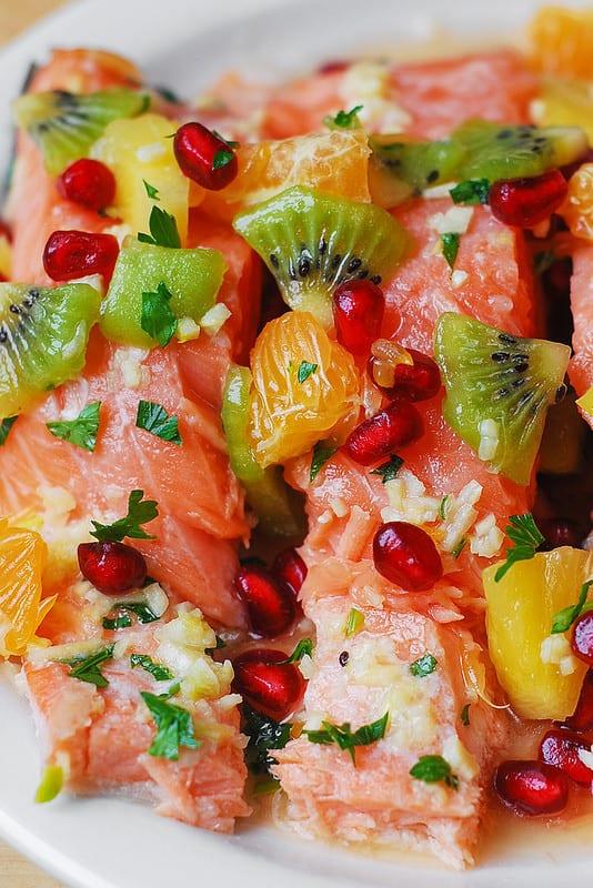 how to make fruit salsa, winter fruit salsa, fish recipes