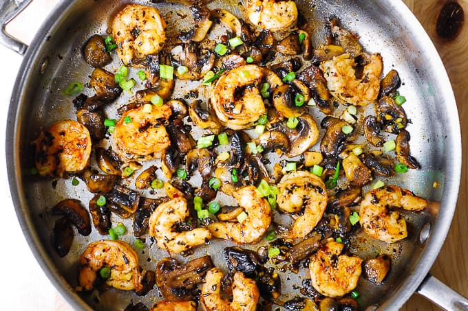combining shrimp with mushrooms