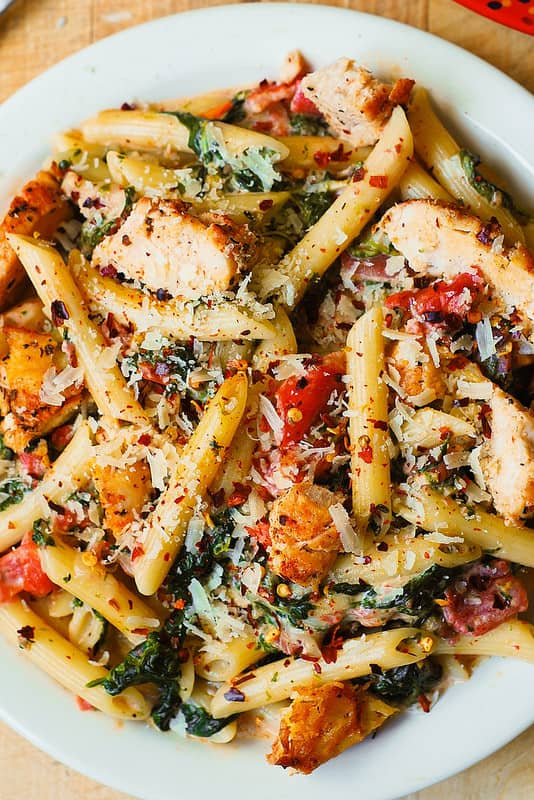 Chicken And Bacon Pasta With Spinach And Tomatoes In Garlic Cream Sauce Julia S Album