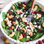 Cranberry Spinach Salad with Cashews, Goat Cheese