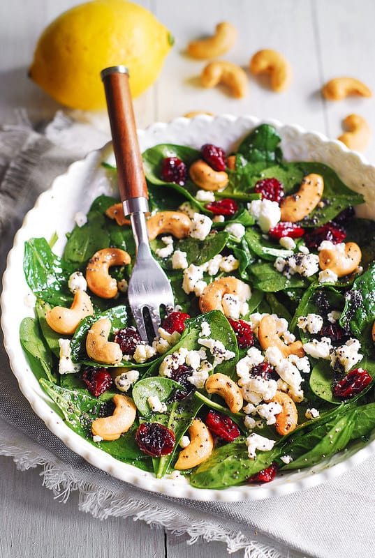 spinach salad, easy spinach salad, how to make spinach salad