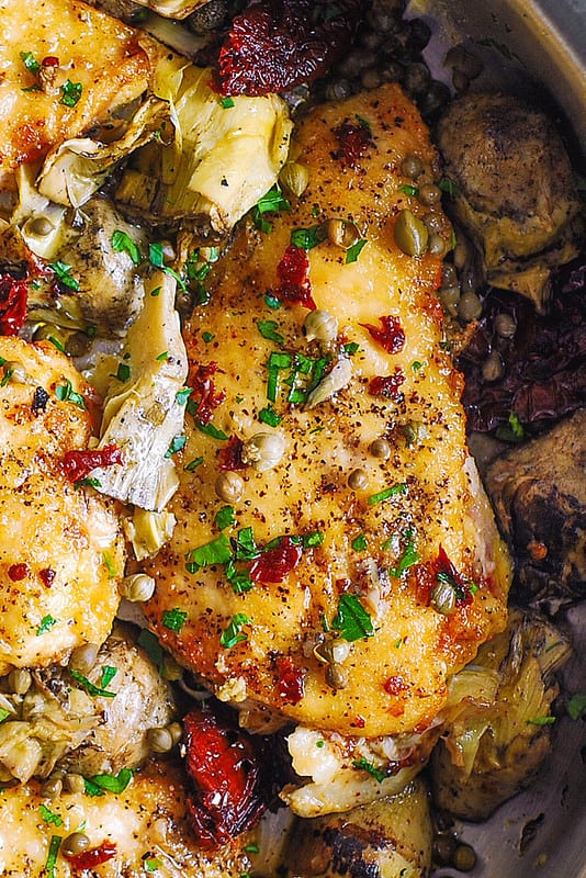 skillet chicken with Sun-Dried Tomatoes and Artichokes