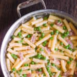 Prosciutto Pasta with Peas and Parmesan Cheese