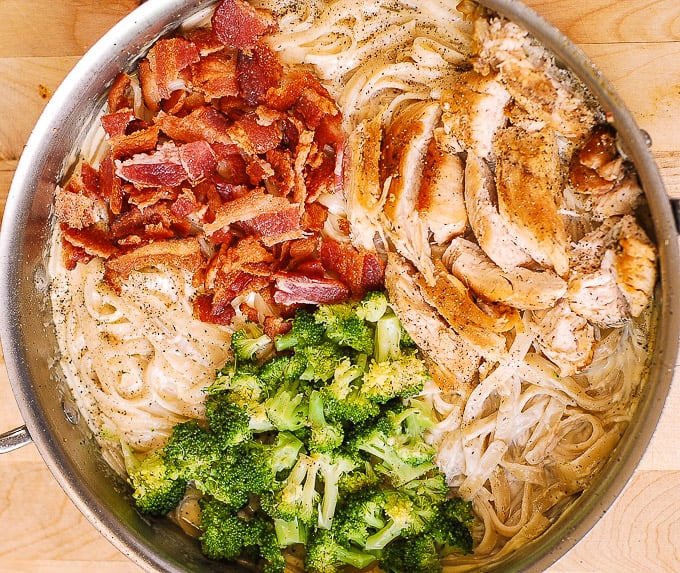 chicken broccoli pasta with bacon