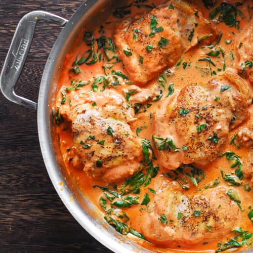 Skillet Chicken Thighs with Creamy Tomato Basil Spinach Sauce