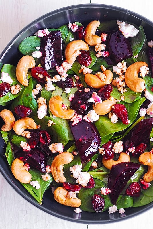 healthy spinach salad with beets, healthy beet salad with nuts