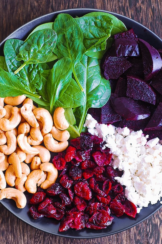 beet and goat cheese salad, beet and spinach salad