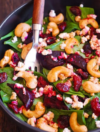 Beet Salad with Spinach, Cashews, and Goat Cheese
