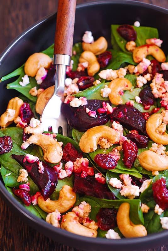 beet spinach salad, healthy beet salad