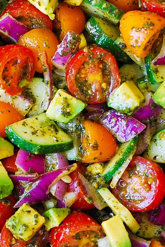 Tomato Cucumber Avocado Pesto Salad, simple avocado salad, healthy avocado salad, quick avocado recipes