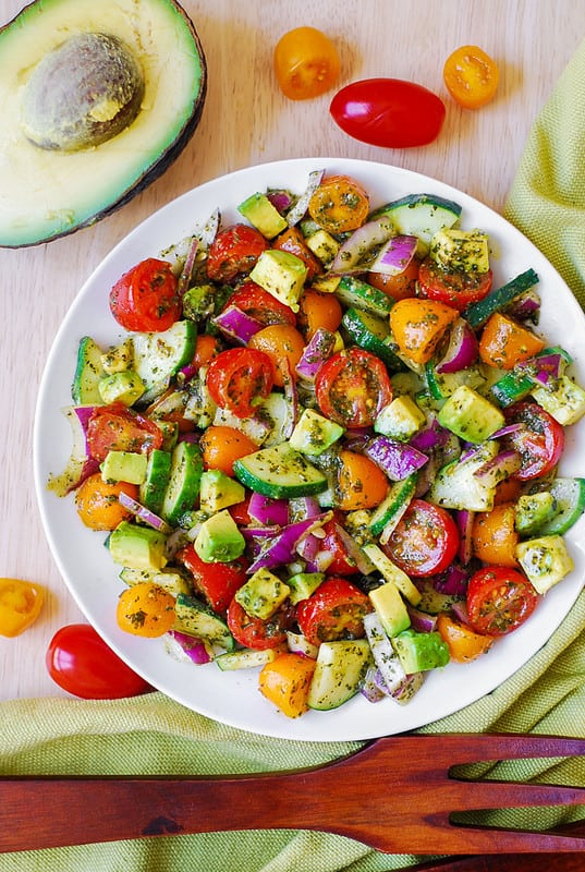 Tomato Cucumber Avocado Pesto Salad, best avocado salad, easy avocado salad