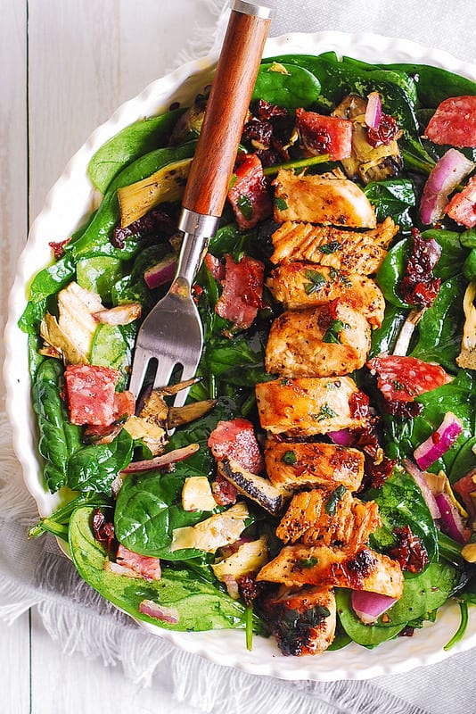 Italian Salad with Chicken, Spinach, Artichokes