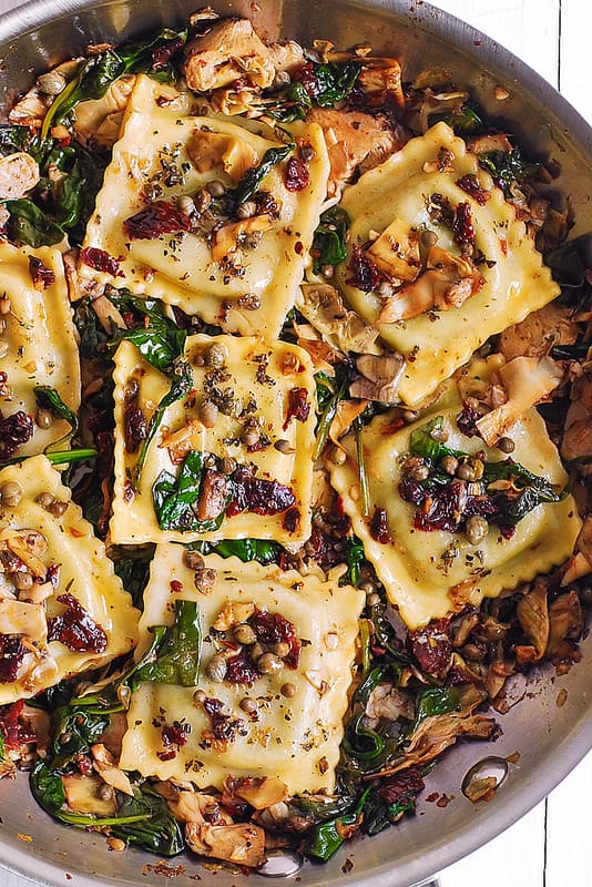 Italian Ravioli With Spinach Artichokes Capers Sun Dried Tomatoes Julia S Album