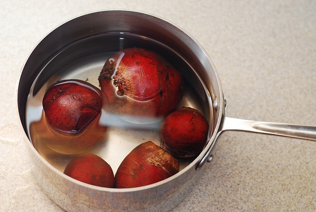 boiling beets in water