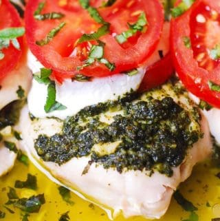 Basil Pesto Tomato Mozzarella Chicken Bake