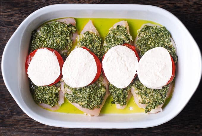 add mozzarella on top of tomatoes in the casserole pan