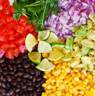 Homemade Guacamole with Black Beans, Corn, Tomatoes, Cilantro