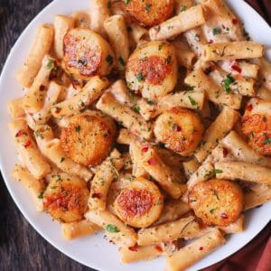 scallop pasta with sun-dried tomatoes