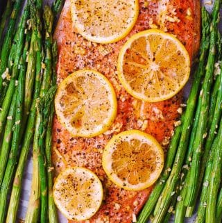 rainbow trout recipe with asparagus on sheet pan