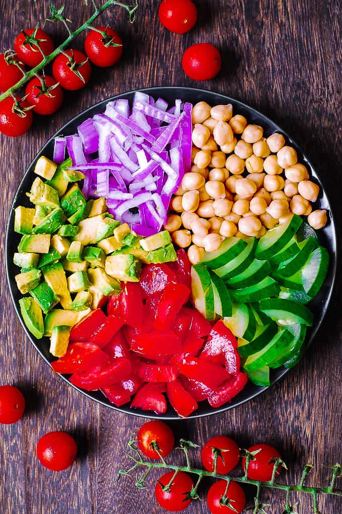 Chickpea Salad with Avocado, Tomato, Cucumber