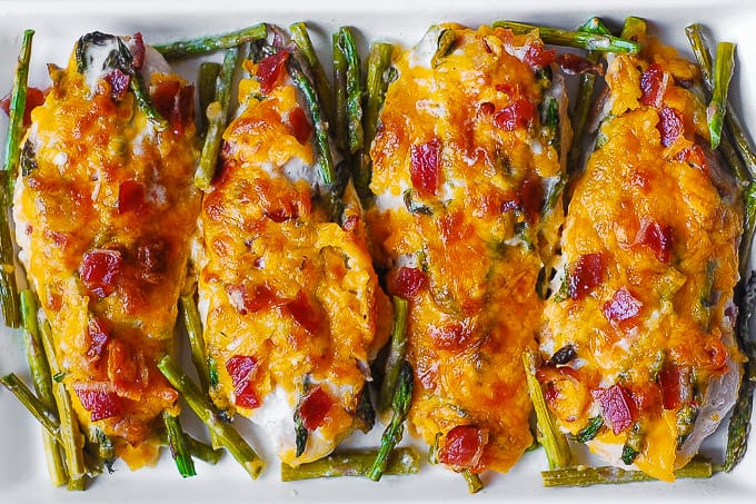 chicken breasts with bacon, asparagus, Ranch dressing, Cheddar cheese