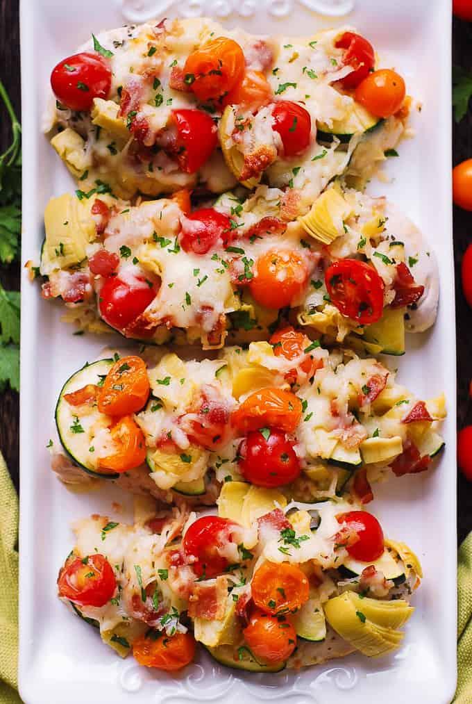 baked Italian chicken, cherry tomatoes, zucchini, artichokes