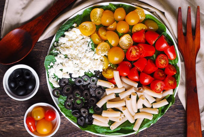 Greek Pasta Salad with Spinach