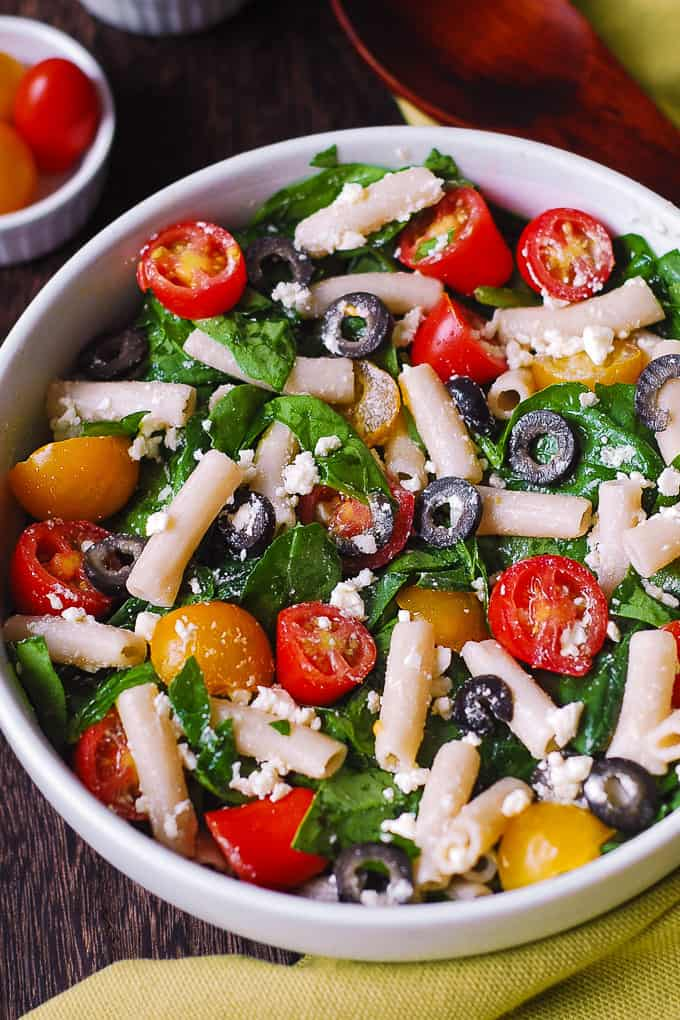 Greek Pasta Salad with Spinach, Olives, Cherry Tomatoes, Feta Cheese