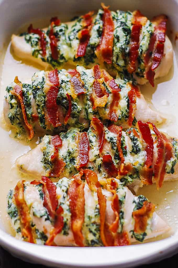 Hasselback Chicken With Bacon Cream Cheese And Spinach