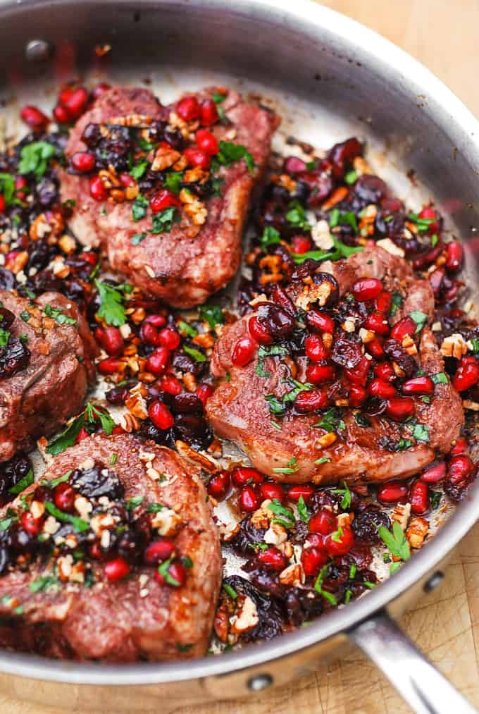 garlicky lamb chops with cranberry balsamic reduction
